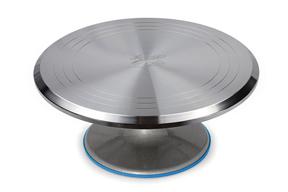 "Ateco 615 12"" Revolving Aluminum Cake Stand with Non-Slip Base"
