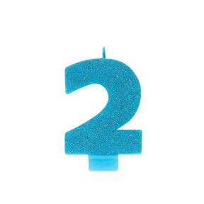 BLUE GLITTER NUMERAL CANDLE - 2