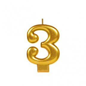 METALLIC NUMERAL GOLD Candle - 3