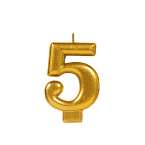 METALLIC NUMERAL GOLD Candle - 5