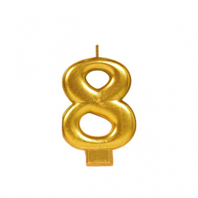 METALLIC NUMERAL GOLD Candle - 8