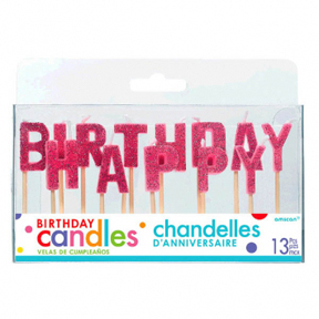 Happy Birthday Glitter Pick Candles ‑ Pink