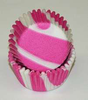 Mini Zebra Baking Cups - Hot Pink - 50ct