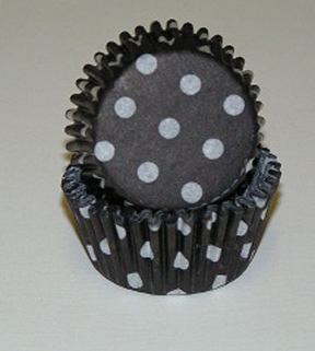 Standard Glassine Baking Cups - Polka Dot - Black - 30ct