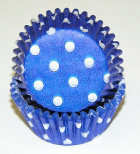 Mini Dot Baking Cups - Blue - 50ct