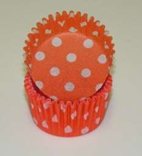Standard Glassine Baking Cups - Polka Dot - Orange - 30ct