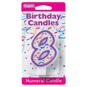 PURPLE NUMERAL CANDLES - 8