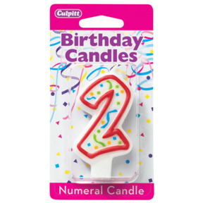 RED NUMERAL CANDLES - 2