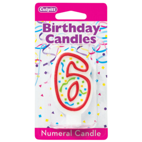 RED NUMERAL CANDLES - 6