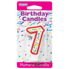 RED NUMERAL CANDLES - 7