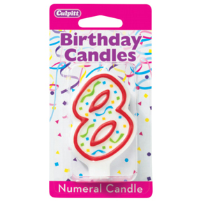 RED NUMERAL CANDLES - 8