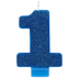 BLUE GLITTER NUMERAL CANDLE - 1