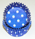 Mini Dot Baking Cups - Blue - 50ct