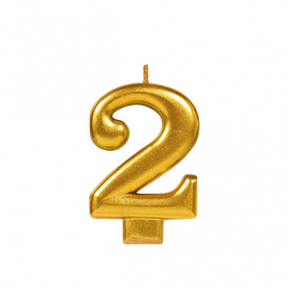METALLIC NUMERAL GOLD Candle - 2