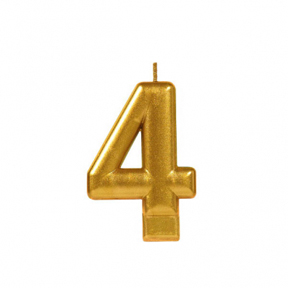 METALLIC NUMERAL GOLD Candle - 4