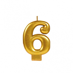 METALLIC NUMERAL GOLD Candle - 6