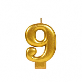 METALLIC NUMERAL GOLD Candle - 9