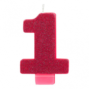 PINK GLITTER NUMERAL CANDLE - 1