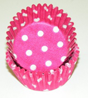 Mini Dot Baking Cups - Hot Pink - 50ct