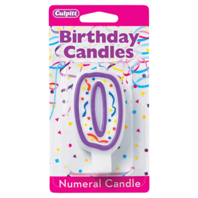 PURPLE NUMERAL CANDLES - 0