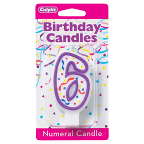 PURPLE NUMERAL CANDLES - 6
