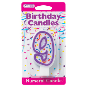 PURPLE NUMERAL CANDLES - 9