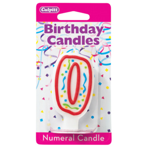 RED NUMERAL CANDLES - 0