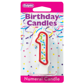 RED NUMERAL CANDLES - 1