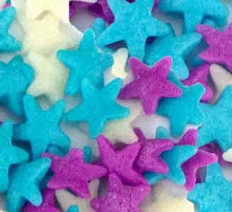 Sequins - Light Blue, Purple, White Stars - 4oz
