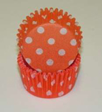 Standard Glassine Baking Cups - Polka Dot - Orange - 30ct